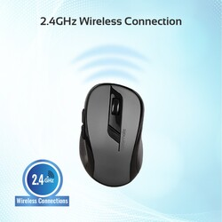 Promate CLIX-7 Optical Wireless Mouse, 2.4Ghz Portable, USB Nano Receiver, 3 Adjustable DPI, 6 Buttons, 10m Working Range and Auto-Sleep Function, Black