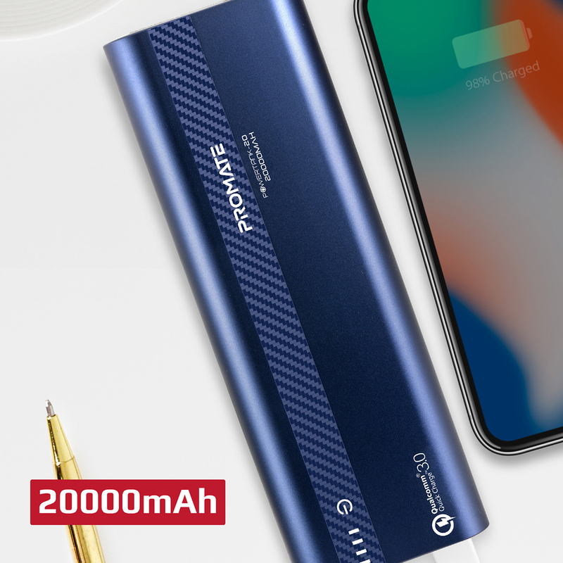 Promate 10000mAh PowerTank-20 Qualcomm QC3.0 Powerbank, Aluminium Portable USB Type-C Input/Output 18W Power Delivery, Over Charging Protection for iPhone XS/XS Max, Samsung S9+, iPad, Blue