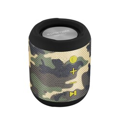 Promate Bomba Bluetooth Speaker, Portable True Stereo with 7W HD Sound, Built-In Mic, Micro SD Card Slot, In-Line AUX and IPX6 Water Resistant, Camouflage