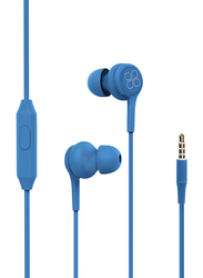 Promate Duet 3.5mm Jack In-Ear Hi-Res Noise Isolating Earphones with Built-in Mic, Blue