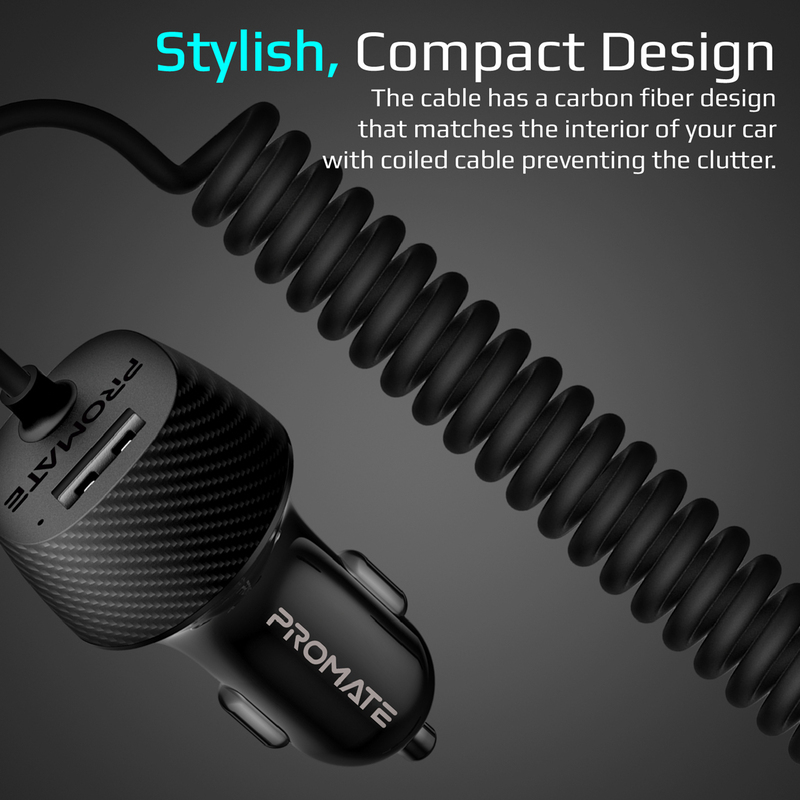 Promate VolTrip-UNI USB Car Charger with Cord, 3.4A Quick Charger Adapter with Built-In 3-in-1 Splitter USB-C, Micro-USB Charging Cable and 2.4A USB Port, for GPS, Mobile Phones and Tablets, Black