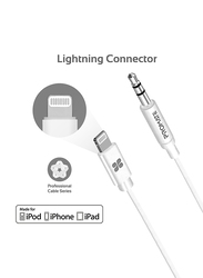 Promate 2-Meter AudioLink-LT2 Lightning AUX Cable, Lightning Male to 3.5mm AUX, Apple MFi Certified, Headphone Jack Adapter Stereo Audio, Digital Analog Converter for Bose/Marshall, White
