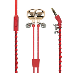 Promate Retro-2 Earphones, Fabric Braided Fashion Bracelet Earbuds with Magnetic Closure, In-Line Mic, Noise Isolating and Tangle Free Cord, Red