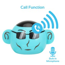 Promate Ape Bluetooth Speaker, Portable Monkey Shape Multifunction Wireless with 3.5mm Audio Jack and Thumbs-up Adjustable Flexible Smartphone Holder, Blue