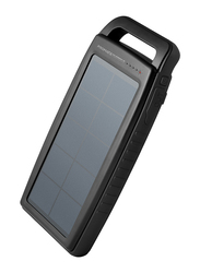 Promate 15000mAh SolarBank-15 Portable Solar Fast Charging Power Bank with Shockproof, Water-Resistant and Bright LED Light, Black