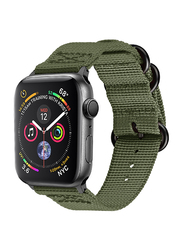 Promate Nylox-38 Nylon Sport Strap for Apple Watch 38mm/40mm Series 4/3/2/1, High-Quality Adjustable Woven Nylon Strap with Quick Release Matte Steel Buckle and Sweatproof, Green