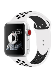 Promate Oreo-38ML Silicone Sport Band for Apple Watch 38mm/40mm Series 1/2/3/4, Medium/Large Size, Dual-Toned Soft Breathable Silicone with Dual Lock Pin and Sweat Resistant, White/Black