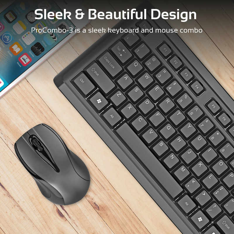 Promate ProCombo-3 Wireless Keyboard and Mouse, Full-Size Super-Slim 2.4GHz Cordless with Nano USB Receiver and Auto Sleep, Black