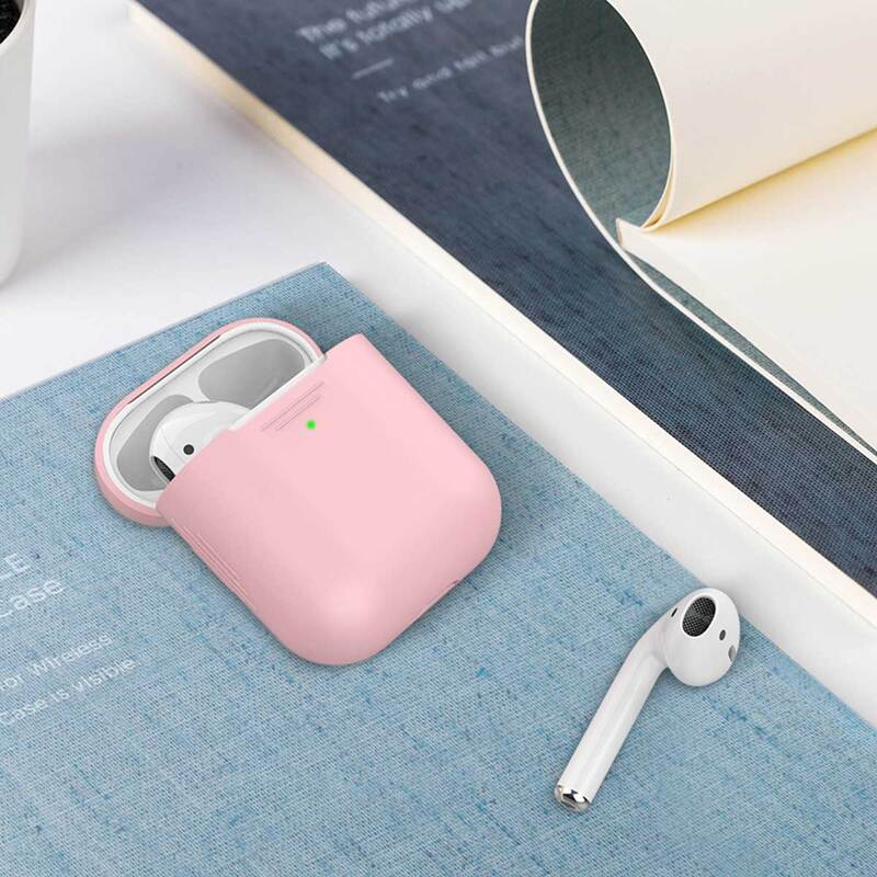 Promate AirCase Silicone Case for Apple AirPods/AirPods 2, Ultra-Lightweight Protective 360 Degree Cover with Scratch-Resistance and Wireless Charging, Pink