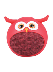 Promate Hedwig 3W Portable Mini Owl Wireless Bluetooth v5.0 Speaker, with Built-In Microphone and 400mAh Rechargeable Battery for Kids/Smartphones/Tablets/iPod, Red