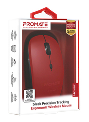 Promate Hover Wireless Sleek Precision Tracking Ergonomic Optical Mouse, Red