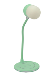 Promate LumiQi Wireless Charger Lamp, Portable Touch Sensor Sensitive LED Desk Lamp with 5W Qi Wireless Charging, Flexible Gooseneck, 3W Bluetooth Speaker for Bluetooth/Qi Enabled Devices, Turquoise