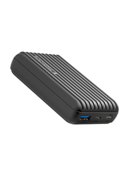 Promate 10000mAh Titan-10C Type-C Power Bank, Micro USB Input and 2.1A USB Port, Automatic Voltage Regulation for USB and Type-C Enabled Devices, Black