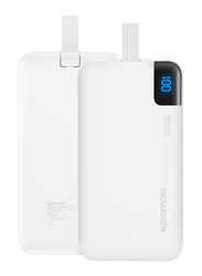 Promate 10000mAh PolyMax-10C Portable Fast Charging Power Bank with Built-In USB Type-C Cable, 2.1A USB Port, Automatic Voltage Regulation, with USB-C Input, White