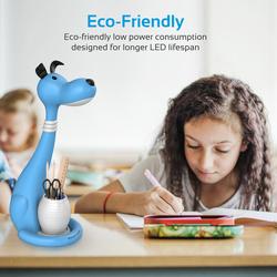 Promate Goofy Kids Night Light, Portable Pen-Holder Touch Sensitive LED Night Light, 3 Level Dimmable Reading Light, 3 Colour, Eye Safe Soothing Light for Studying/Reading/Table/Home, Blue