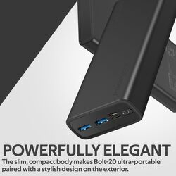 Promate 20000mAh Bolt-20 Fast Charging Portable Power Bank, with 2A Dual USB Port, Over-Charging Protection and USB-C, Micro USB Input Port, Black