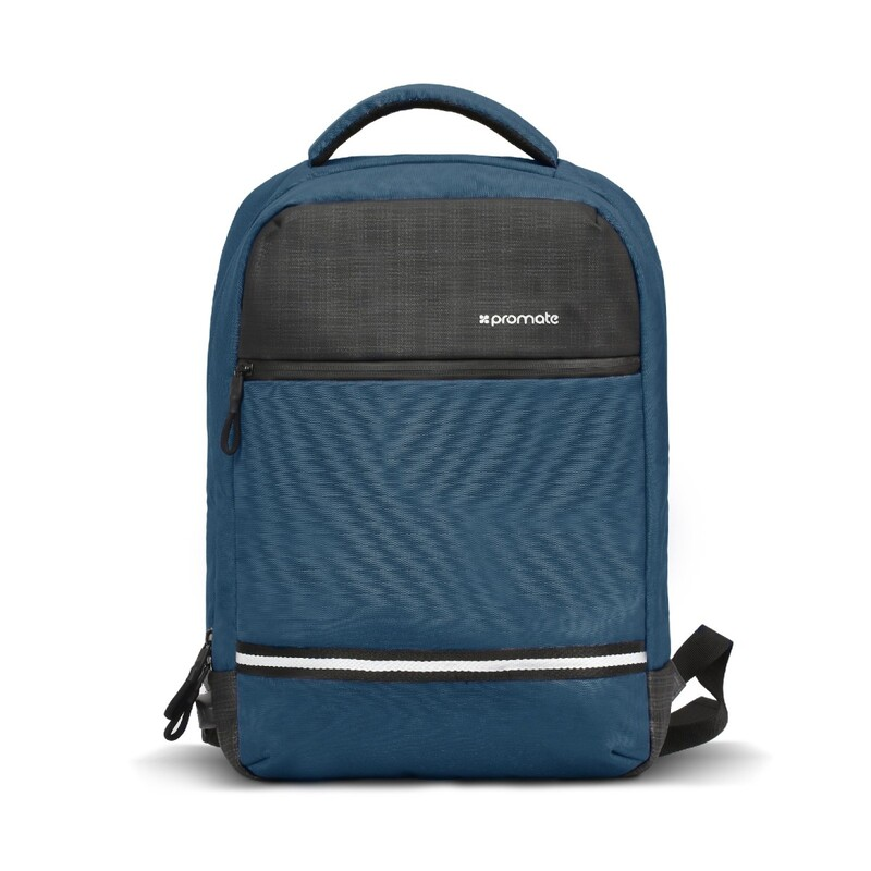 Promate Explorer-BP Travel Laptop Backpack, Anti-Theft Slim Durable for 13 Inch Laptop with Water Resistant, Soft Adjustable Padded Straps, Multiple Storage and USB Charging Port, Blue