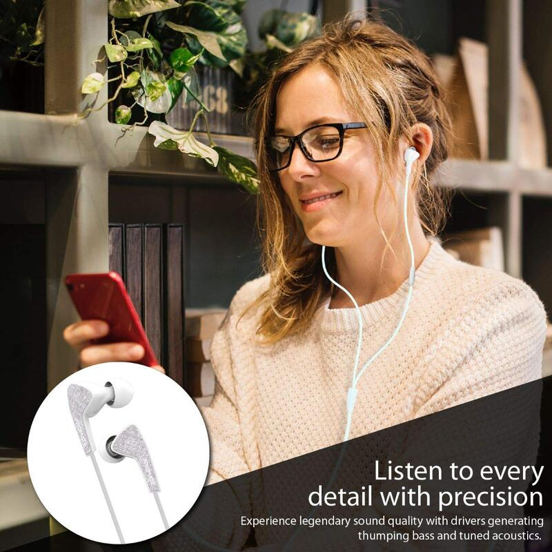 Promate Medley-1 Sports In-Ear Headphones, Premium Hi-Fi Stereo, Noise-Isolation with Microphone, Crystal Sound and Anti-Tangle Wires for Workout, White