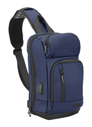 Promate TrekPack Sling 13-inch Water Resistant Backpack Laptop Bag, with USB Charging Port, Blue