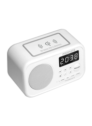 Promate TimeBase-3 Qi Wireless Bluetooth Speaker, Wireless Charging Pad with 5W HD Sound, USB Media Port, Alarm Clock, LED Time Display, Aux-in, FM Radio, USB Charging Port and Mic, White