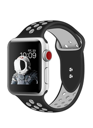 Promate Oreo-42ML Silicone Sport Band for Apple Watch 42mm/44mm Series 1/2/3/4, Medium/Large Size, Dual-Toned Perforated Silicone with Secure Dual Pin-Tuck Closure and Sweat-Resistant, Black /White