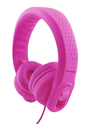 Promate Flexure 2 Kids Over-Ear Noise Cancelling Music Headset, with Mic, Adjustable Headband, Pink