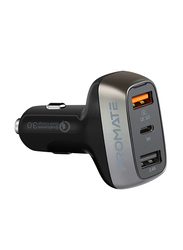 Promate Scud-C30 Qualcomm Quick 3.0 Car Charger, Fast 30W 2.4A Cigarette Lighter Power Outlet with 3A USB-C Charging Port and Over-Heating Protection for iPad, GPS, Mobile Phones and Tablets, Black