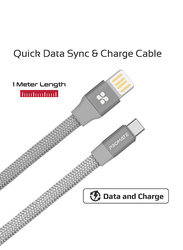 Promate 1.2-Meter Coiline-C Auto-Coiling USB-C Cable, 2A Fast Charge/Sync USB-A to Type-C Cable, with Premium Fabric Braided Aluminium Alloy Reversible Cord for All Type-C Smartphones/Tablet, Grey