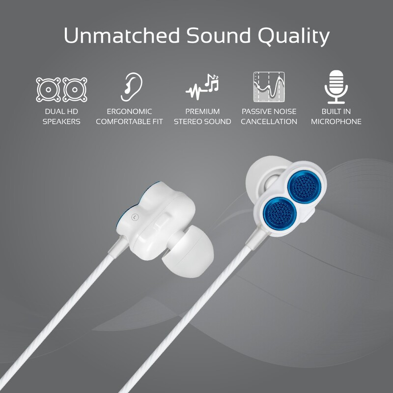 Promate Ivory In-Ear Earphones, Premium Dual-Driver Stereo Earbuds with Dual Dynamic Sound, Built-In Microphone, Anti Tangle Cords and Noise Isolation, Blue