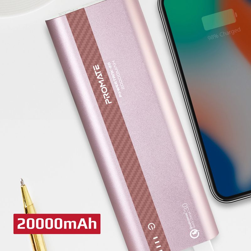 Promate 10000mAh PowerTank-20 Qualcomm QC3.0 Powerbank, Aluminium Portable USB Type-C Input/Output 18W Power Delivery, Over Charging Protection for iPhone XS/XS Max, Samsung S9+, iPad, Rose Gold