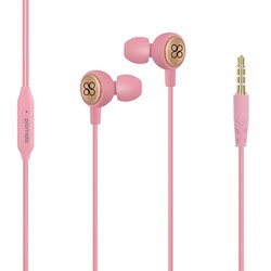 Promate Flano Earphones, Lightweight In-Ear HD Stereo, Noise Cancellation with Built-in Mic, Remote, 3.5mm Audio Jack and 1.2m Tangle Free Cord, Pink