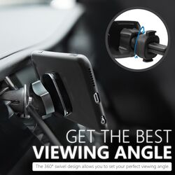 Promate AirGrip Magnetic AC Vent Car Phone Mount, Universal with Built-In 6 Strong Magnets, Anti Slip Surface and 360 Rotation Air Vent, Blue