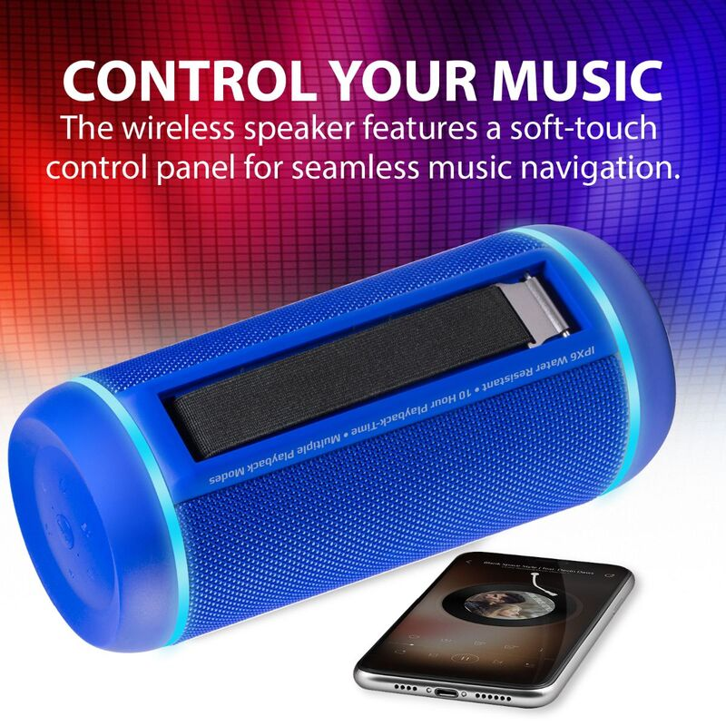 Promate Silox-Pro Portable Indoor/Outdoor 30W Wireless Bluetooth Stereo Speaker, IPX6 Water-Resistant with Mic, FM Radio, TF Card Slot, USB Port, Audio Jack & Built-In 6600mAh Power Bank, Blue
