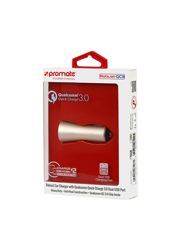 Promate Robust-QC3 Car Charger, Heavy-Duty Qualcomm Quick Charger 3.0 Dual USB Port Car Charger with Short Circuit and Over Charging Protection for GPS, iPod, Mobile Phones and Tablets, Gold