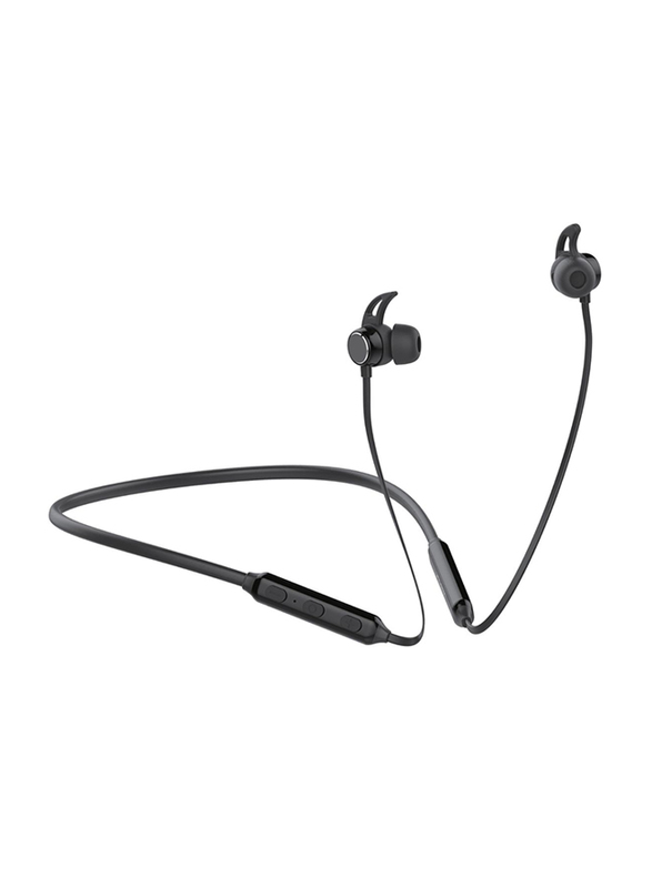 Promate Flow Wireless Bluetooth v5.0 Stereo Music Noise Cancelling Neckband Headphone with Lightweight IPX4 Water-Resistant, Built-In Mic, Multi-Point Pairing and Secure Fit Design, Black