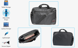Promate Gear-MB Messenger Bag with Water-Resistance for 15.6-Inch Laptops, Black