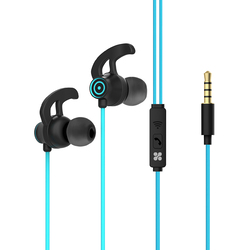 Promate Swift In-Ear Wired Earbuds, Premium 3.5mm, HD Stereo Sound, Built-In Mic, Sweat Resistant, Anti-Tangled Cords and Passive Noise Cancelling, Blue