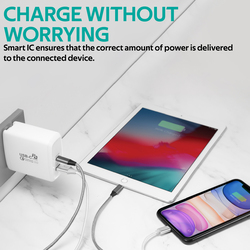 Promate PowerCore 60 Wall Charger, Premium Fast Charging 60W Type-C, with Ultra-Fast Qualcomm Quick Charge 3.0 Port and Multi-Regional Plugs, White