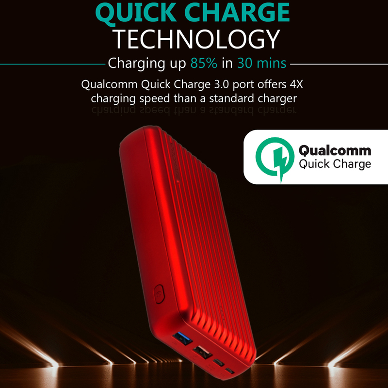 Promate 30000mAh Titan-30 USB-C Two Way 18W Portable Charger Power Bank, Qualcomm Quick 3.0 Port and Fat 2.4A USB Port, Red