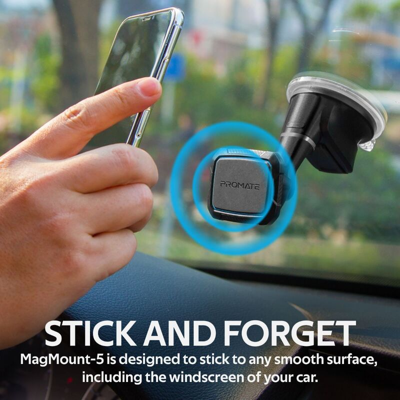 Promate MagMount Magnetic Car Phone Mount, Universal Windshield Magnetic Suction Cup Mount with 6 Neodymium Magnets, Anti-Slip Grip and 360 Rotation View, Blue