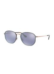 Ray-Ban Blaze Full-Rim Round Gold Sunglasses Unisex, Mirrored Blue Lens, 0RB3579N 9035/1U, 58/15/145