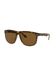Ray-Ban Polarized Full Rim Square Tortoise Sunglasses for Men, Brown Classic Lens, RB4147, 60/15/145