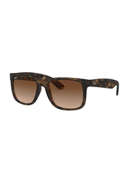 Ray-Ban Justin Full-Rim Square Dark Brown Sunglasses Unisex, Brown Lens, 0RB4165F 856/13, 55/17/145