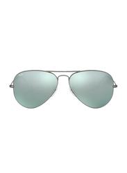 Ray-Ban Full Rim Aviator Gunmetal Sunglasses for Men, Mirrored Green Lens, RB3025 029/30, 58/14/135