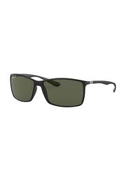 Ray-Ban Polarized Full Rim Square Black Sunglasses for Men, Green Classic Lens, RB4179, 62/13/140
