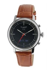 Blade Smartwatch Analog/Digital Unisex Watch with Leather Band, Water Resistant, 3500S-2HA-SNO, Brown-Black/Silver