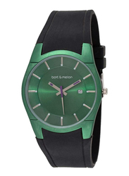 Bart & Melon Analog Unisex Watch with Silicone Band, Water Resistant, 12-DU007GN, Black-Green