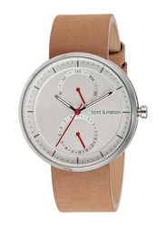 Bart & Melon Analog Unisex Watch with Leather Band, Water Resistant and Chronograph, 15-DG016-2-SWO, Brown-White