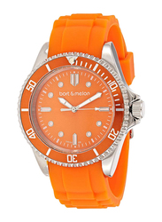 Bart & Melon Analog Unisex Watch with Silicone Band, Water Resistant, 12-NU010SAA, Orange