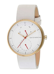 Bart & Melon Analog Unisex Watch with Leather Band, Water Resistant and Chronograph, 15-DG016-2-GWW, White